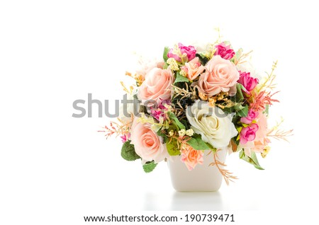 Bouquet flowers isolated on white Royalty-Free Stock Photo #190739471