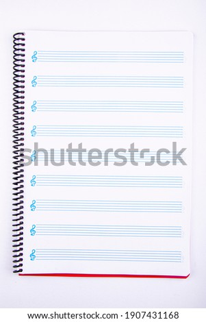 music notebook on white background