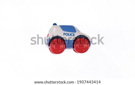 toy police car isolated on white background