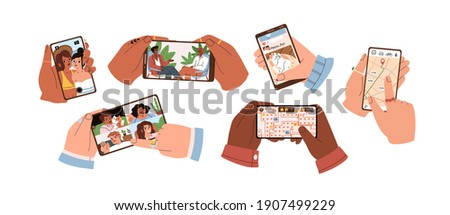 Set of hands touch smartphone screen and hold mobile phones with apps for taking selfie, watching video, social media, searching route on map, group calling and playing games. Flat vector illustration Royalty-Free Stock Photo #1907499229