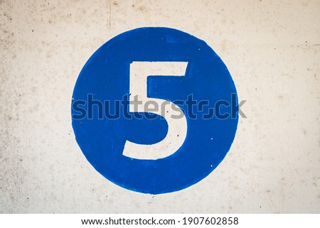 5, abstract, background, blue circle, blue color circle, blue coloured circle, car park, color, concept, design, digit, fifth floor, fifth level, figure, five, hand painted blue circle, landing number Royalty-Free Stock Photo #1907602858
