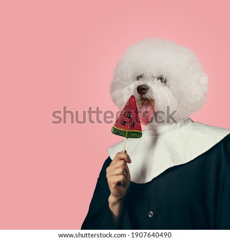 Tastes. Model like medieval royalty person in vintage clothing headed by dog head on coral pink background. Concept of comparison of eras, artwork, renaissance, baroque style. Creative collage.