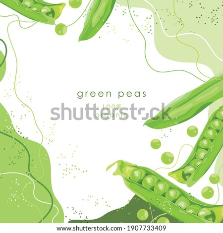 Stylized green peas on an abstract background. Pea pods. Banner, poster, sticker, print, modern textile design. Vector illustration.  Royalty-Free Stock Photo #1907733409
