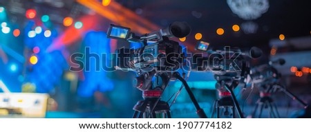 stream at a concert in a hall without spectators during a pandemic Royalty-Free Stock Photo #1907774182