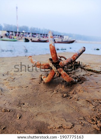 'Anchor of Boat' which is used for stand at the  bank of the river.  This picture is captured at the Talsari of Odisha, India.