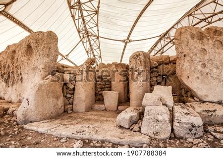 Megalitic temple complex  - Hagar Qim - archaeological exacavations in Malta Royalty-Free Stock Photo #1907788384