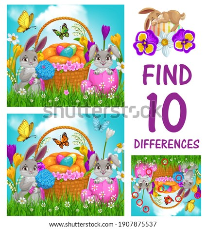 Kids game of find ten differences vector template with Easter eggs and bunnies. Logic game, puzzle or riddle of children education worksheet with Easter holiday egg hunt basket, rabbits and flowers Royalty-Free Stock Photo #1907875537