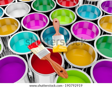 metal paint cans with colorful paint and paintbrush, painting concept.. 3d illustration #190792919