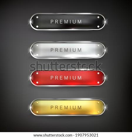 Golden iron web set button on black background  Royalty-Free Stock Photo #1907953021
