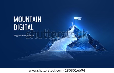 The path to success in the digital futuristic style. Business goals achievement concept. Vector illustration of a mountain with a flag in a polygonal wireframe style Royalty-Free Stock Photo #1908016594