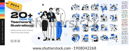 Business Teamwork illustrations. Mega set. Collection of scenes with men and women taking part in business activities. Trendy vector style Royalty-Free Stock Photo #1908042268