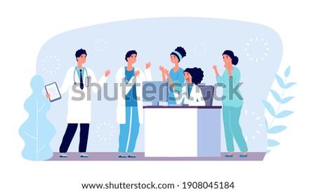 Medical consultation concept. Doctors characters. hospital team, diagnostics, medical meeting