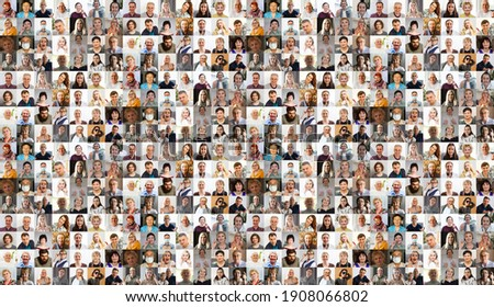 Hundreds of multiracial people crowd portraits headshots collection, collage mosaic. Many lot of multicultural different male and female smiling faces looking at camera. Diversity and society concept Royalty-Free Stock Photo #1908066802