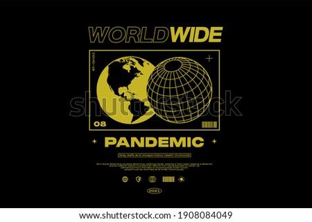 WORLDWIDE PANDEMIC Pandemic Apparel Edgy T shirts Design for Urban Street wear T shirt Design Empowering Worldwide Banner Series Royalty-Free Stock Photo #1908084049