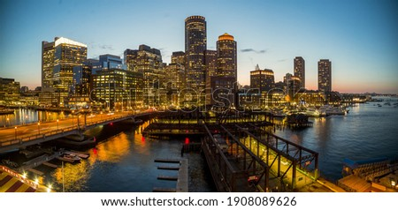 The beautiful skyline of Boston city during