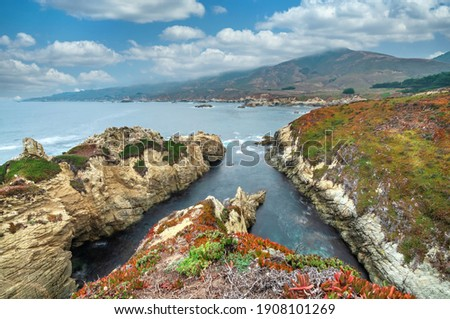 California nature - landscape, beautiful cove with rocks on the seaside in Garrapata State Park. County Monterey, California, USA. Long exposure photo.