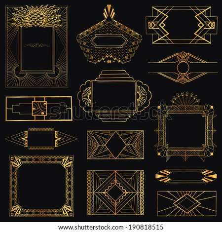 Art Deco Vintage Frames and Design Elements - hand drawn - in vector #190818515
