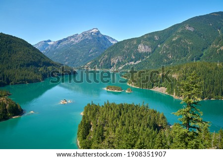 Diablo Lake North Cascades. Diablo Lake in North Cascades National Park, Washington State, USA.                                  Royalty-Free Stock Photo #1908351907