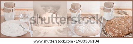 Bread making process step by step. Traditional bread preparation. Artisan for bakery. Instructions for bread recipe. Homemade bread. Cookery healthy. Elaborating dough. Picture of bakery.Making recipe