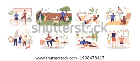 Set of healthy families doing sport exercises at home together. Happy parents workout with kids, practice yoga indoors and outdoors. Colored flat vector illustration isolated on white background Royalty-Free Stock Photo #1908478417