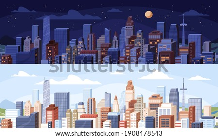 Cityscape at day and night time. City panoramic view with roofs of skyscrapers buildings at midday and midnight. Colored flat vector illustration of daytime and nighttime in modern downtown Royalty-Free Stock Photo #1908478543