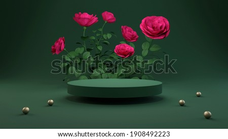 Rose 3D rendering flower background pink color with geometric shape podium for product display, minimal concept, Premium illustration pastel floral elements, beauty, cosmetic. Royalty-Free Stock Photo #1908492223
