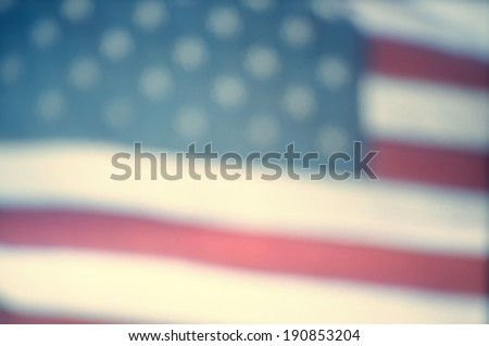 Defocussed video still of American flag