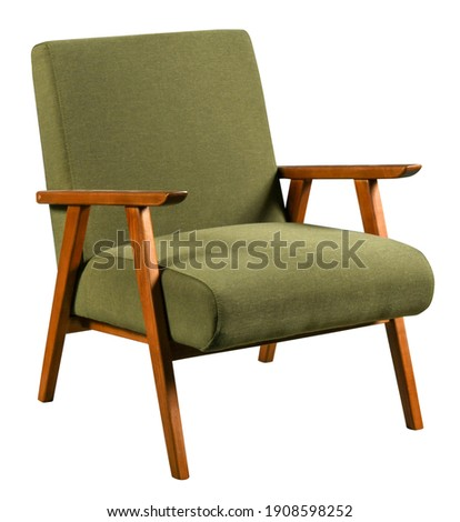 Comfortable soft retro style armchair with wooden armrests and green fabric seat isolated on white background Royalty-Free Stock Photo #1908598252