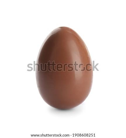 One sweet chocolate egg isolated on white Royalty-Free Stock Photo #1908608251