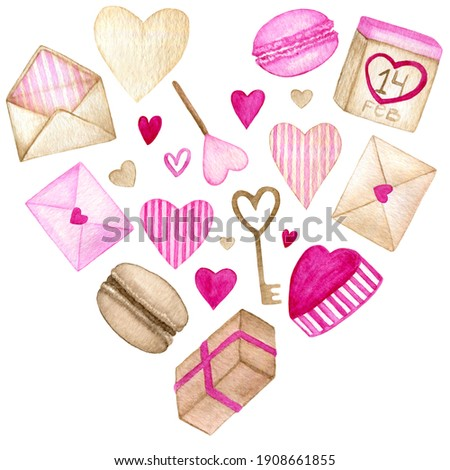 Watercolor composition with hearts, envelopes, key, lollypop, macarons, boxes and calendar. Wedding clip art elements on white background. Illustration for print, gift, wrapping, greeting card or sale