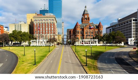 Dealey Plaza, city park and National Historic Landmark in downtown Dallas, Texas. Site of President John Fitzgerald Kennedy assassination in 1963. Royalty-Free Stock Photo #1908723163