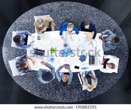 Group of Business People Discussing Statistical Analysis  #190882595