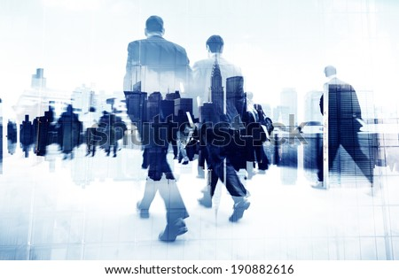 Abstract Image of Business People Walking on the Street Royalty-Free Stock Photo #190882616