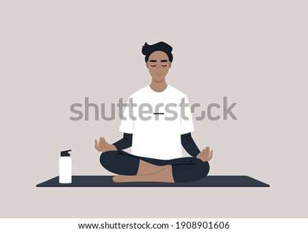 Young calm male character meditating in a lotus yoga pose, mindful lifestyle concept Royalty-Free Stock Photo #1908901606