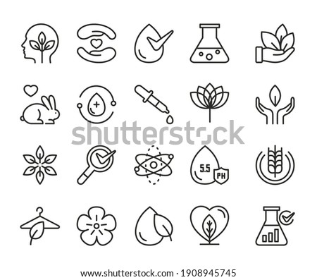 Eco cosmetics thin black line icon vector illustration set. Linear symbols for cosmetology about toxic free vegan green products, without cruelty to animals editable stroke logo outline collection Royalty-Free Stock Photo #1908945745