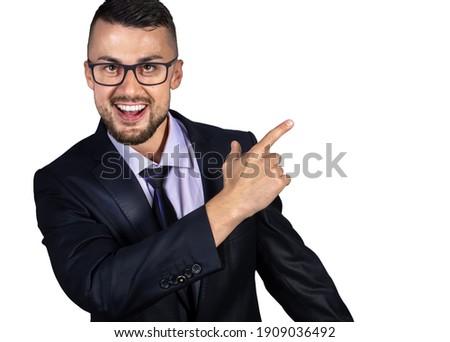 Business concept. Studio portrait of happy man.