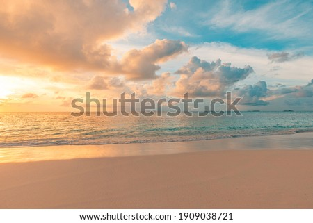 Closeup sea sand beach. Panoramic beach landscape. Inspire tropical beach seascape horizon. Orange and golden sunset sky calmness tranquil relaxing sunlight summer mood. Vacation travel holiday banner Royalty-Free Stock Photo #1909038721