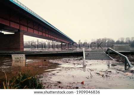 Germany Mainz: Floods  of the Rhine due to natural disaster or climate change. The picture shows the Weisenauer Bridge.