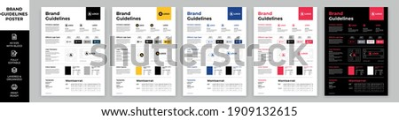 DIN A3 Brand Guidelines Poster Layout Set, Brand Manual Templates, Simple style and modern layout Brand Identity, Brand Guidelines Royalty-Free Stock Photo #1909132615