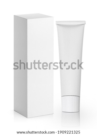 blank packaging aluminum tube with cardboard box isolated on white background