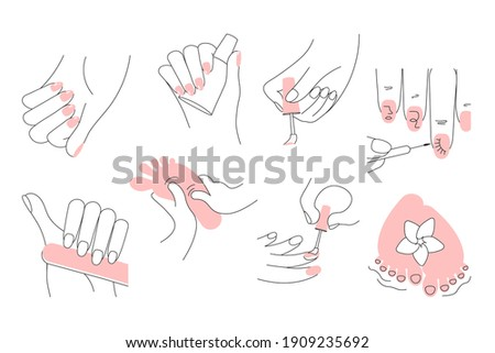 Manicure, pedicure and nail art designs set. Female manicured hands and feet. Concepts of spa treatment for nail bar or beauty salon. Flat Art Rastered Copy Illustration