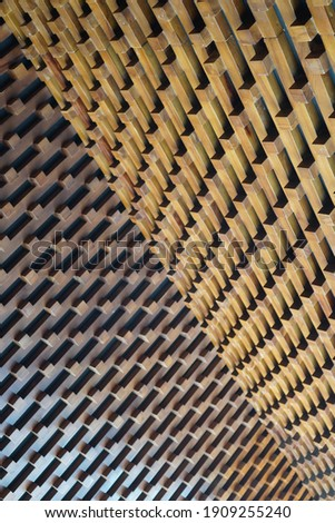 Wood wall geometry decoration background. Architecture