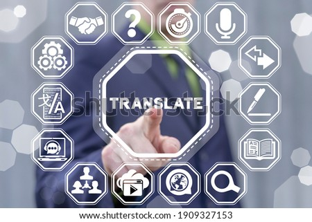 Foreign languages translation services concept. Online translator. Language live translating application for people communication.