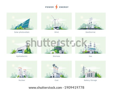 Electricity generation source types. Energy mix solar, water, fossil, wind, nuclear, coal, gas, biomass, geothermal and battery storage. Natural renewable pollution power plants station resources. Royalty-Free Stock Photo #1909419778