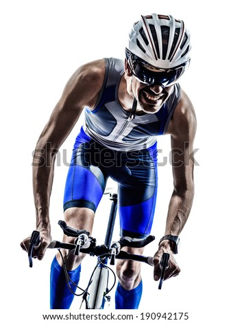 man triathlon iron man athlete bikers cyclists bicycling biking  in silhouettes on white background
