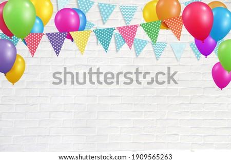 Colorful party balloons and flags hanging on white wall background, birthday, anniversary, celebration event, festival greeting card background
