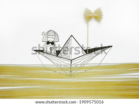 An illustration of a girl floating in a boat in a sea of real raw pasta