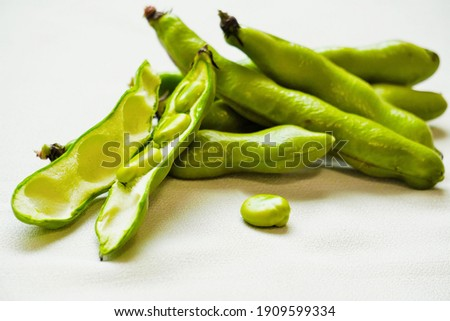 Broad beans and pods from Japan Royalty-Free Stock Photo #1909599334