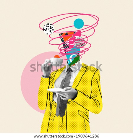 Morning coffee makes things better. Comics styled yellow suit. Modern design, contemporary art collage. Inspiration, idea, trendy urban magazine style. Negative space to insert your text or ad. Royalty-Free Stock Photo #1909641286