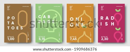 Potatoes, Cabbage, Onions, Radish. Price tag, label or poster. Set of posters, vegetables and herbs in a minimalist design. Flat vector illustration.  Royalty-Free Stock Photo #1909686376